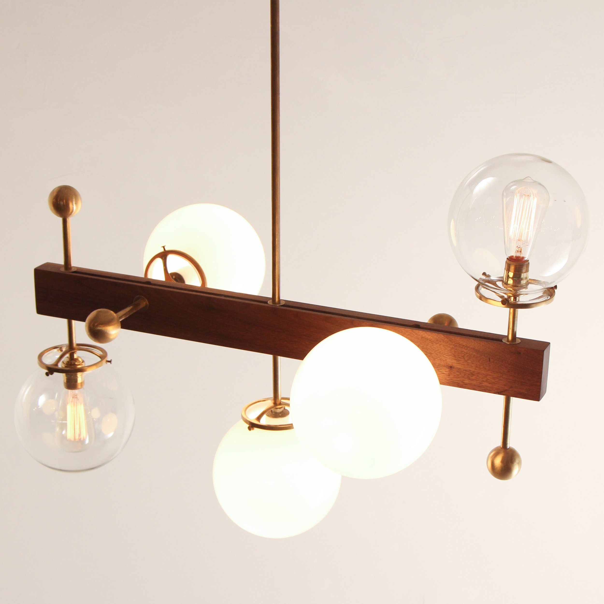 5 Globe Walnut Brass Light