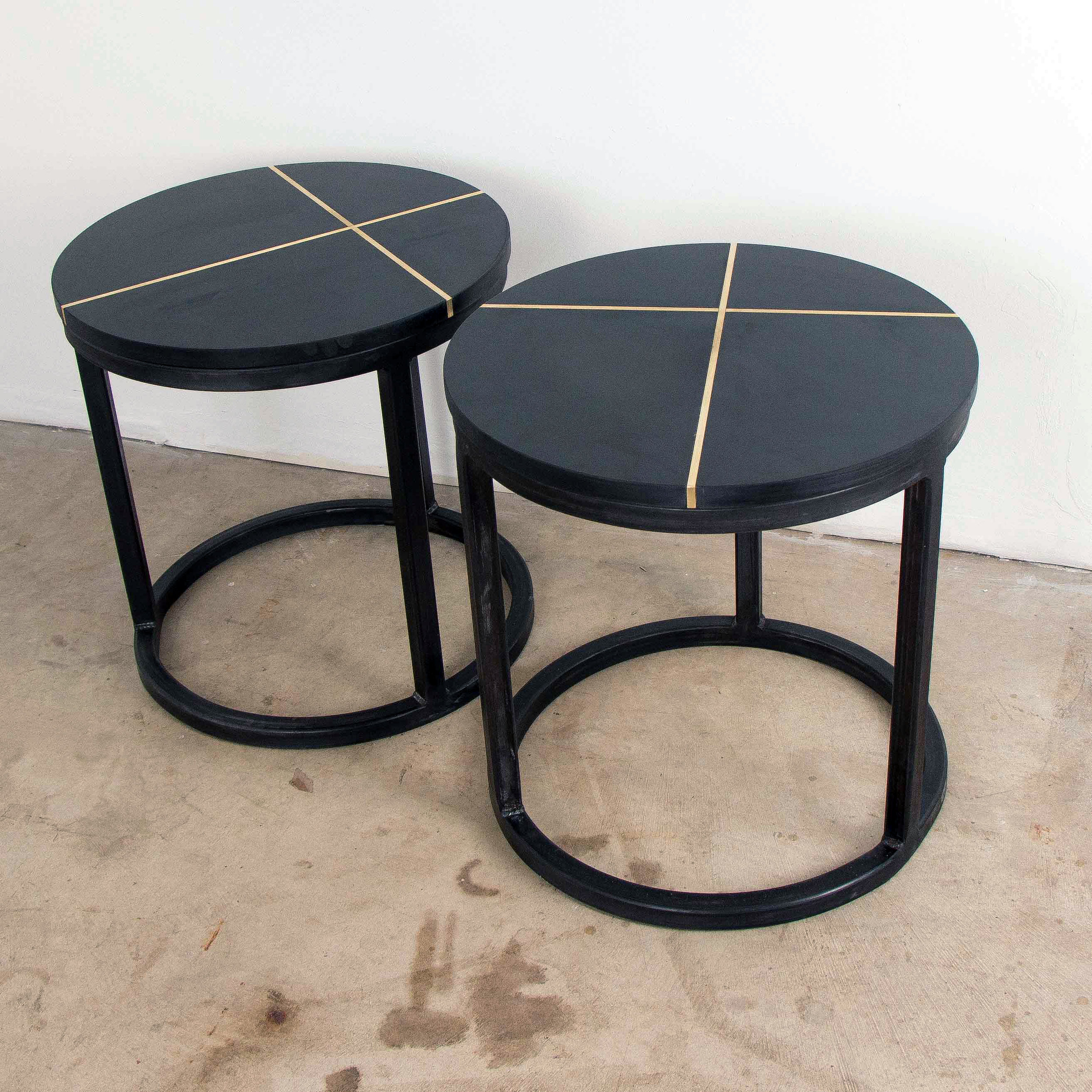 Phenolic Brass Round Side Table