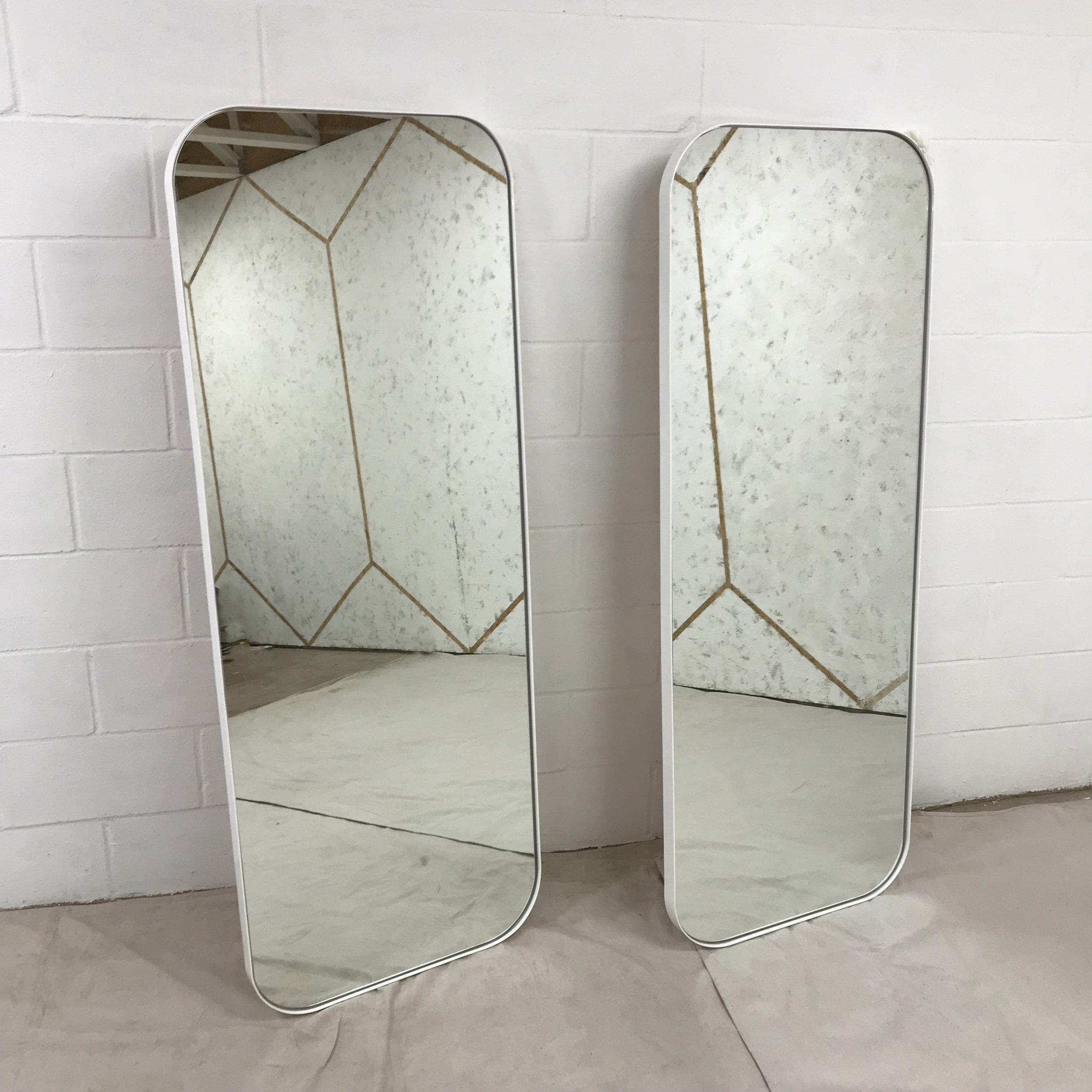 White Powder Coated Full Size Mirrors