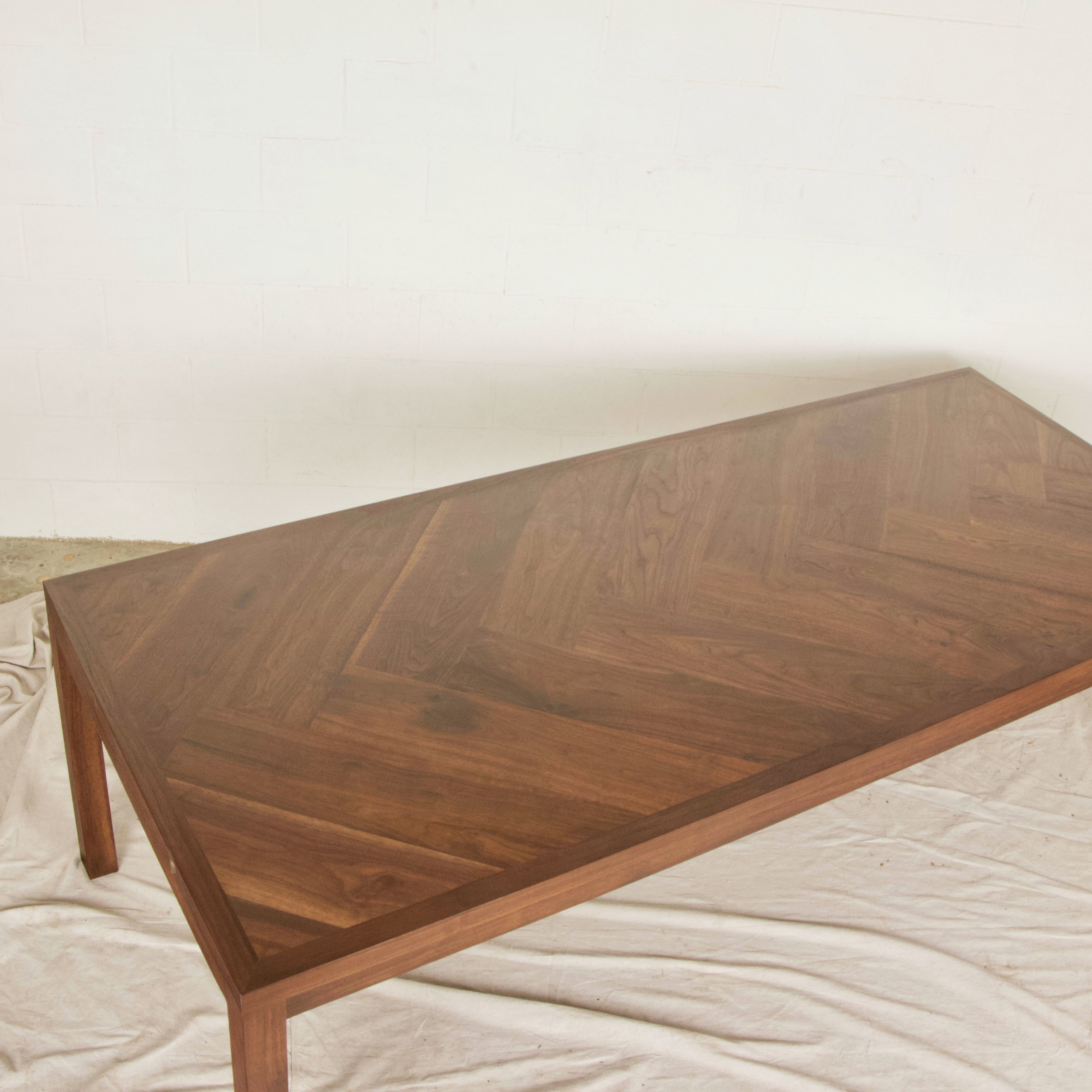 Herringbone Walnut Parsons Dining Table