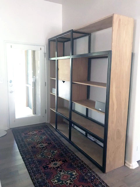 White Oak and Steel Bookcase