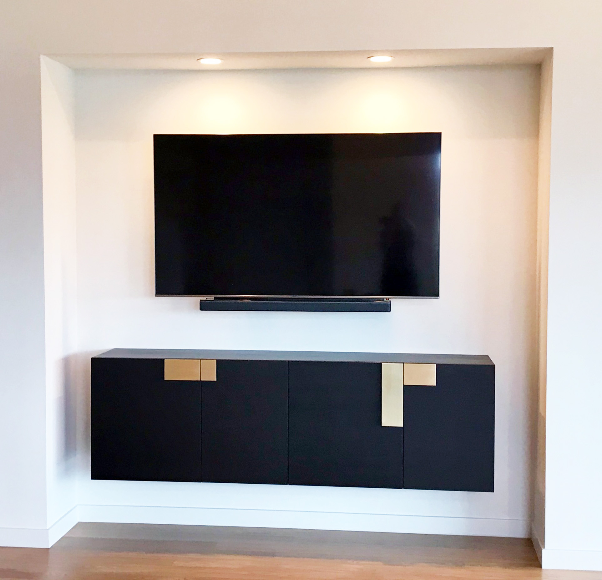 Hanging Media Cabinet with Brass Plate Pulls