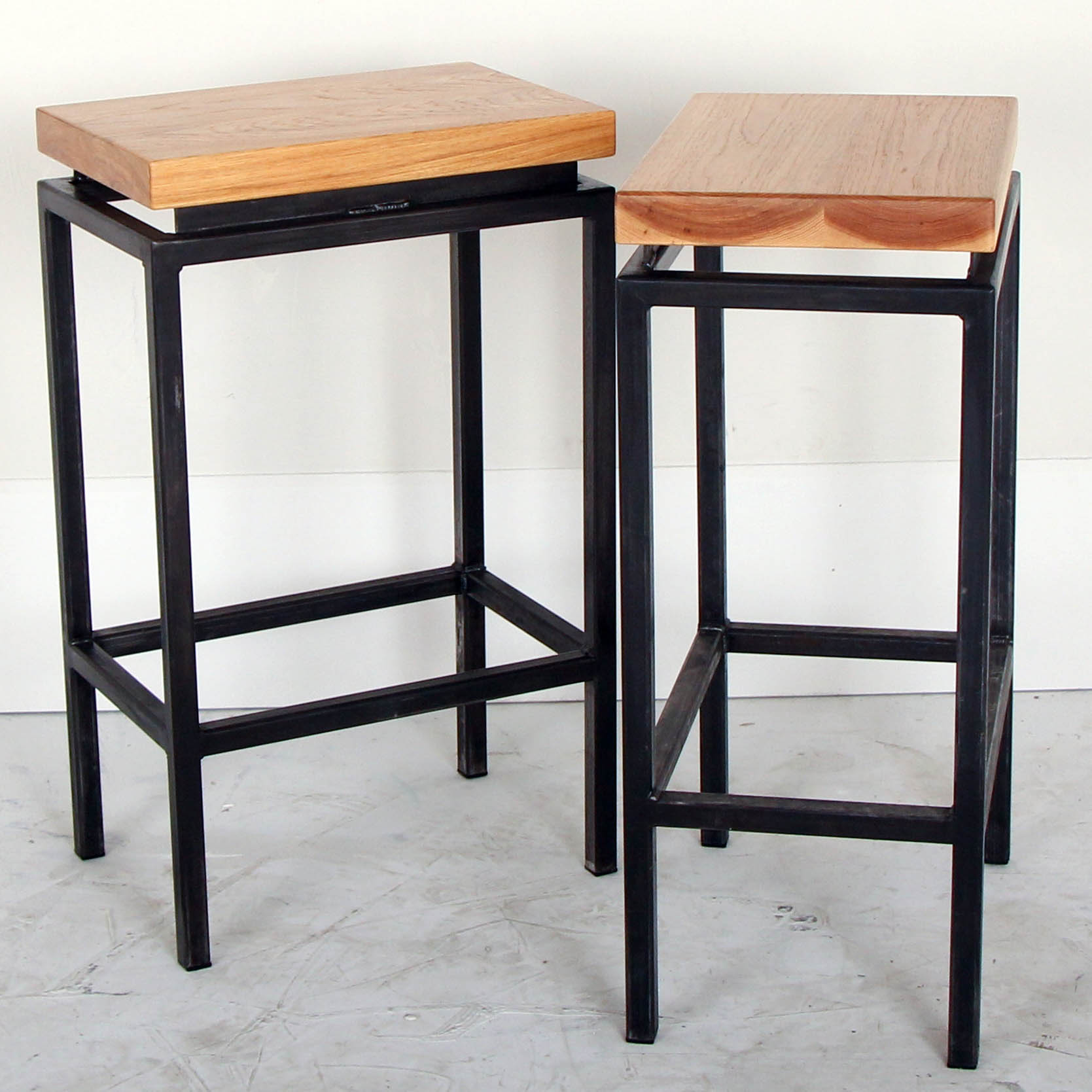 Floating H-Base Pecan Top Barstools
