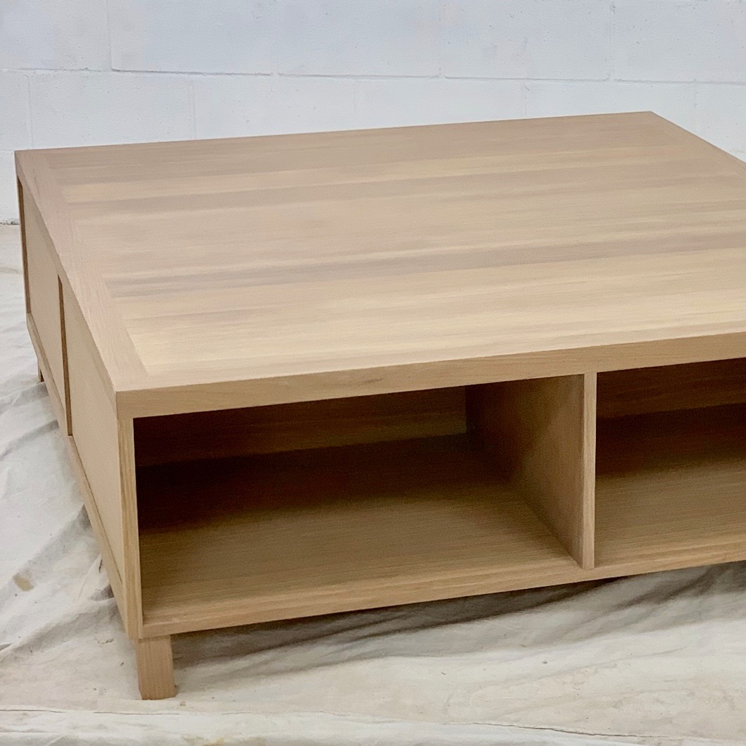 White Oak Coffee Table 2 cubby/2 drawer