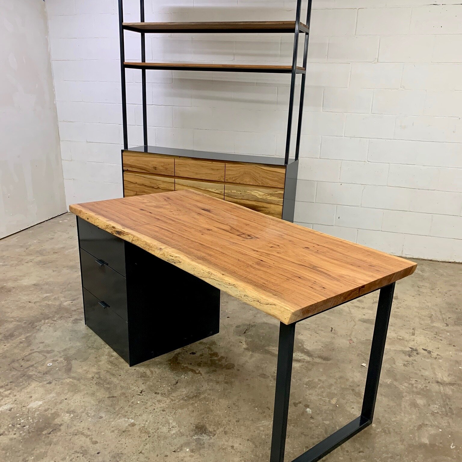 Pecan & Charcoal Desk and Bookcase