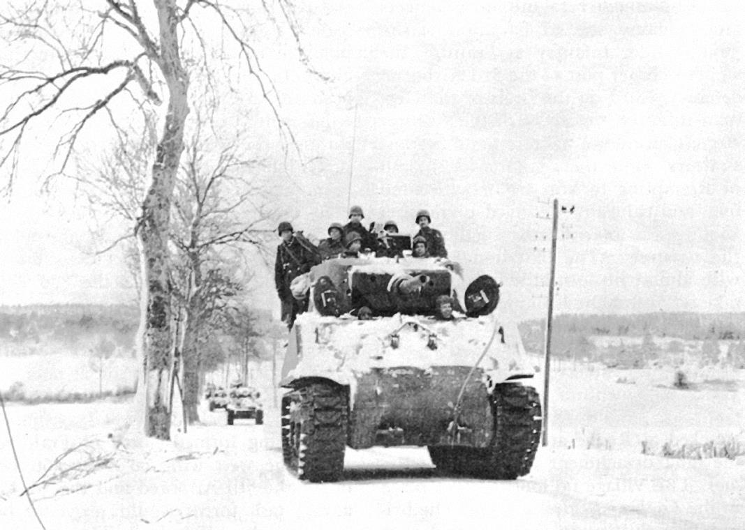 2nd Armored Division M4A3E2 Jumbo near Manhay during the Battle of the Bulge.
