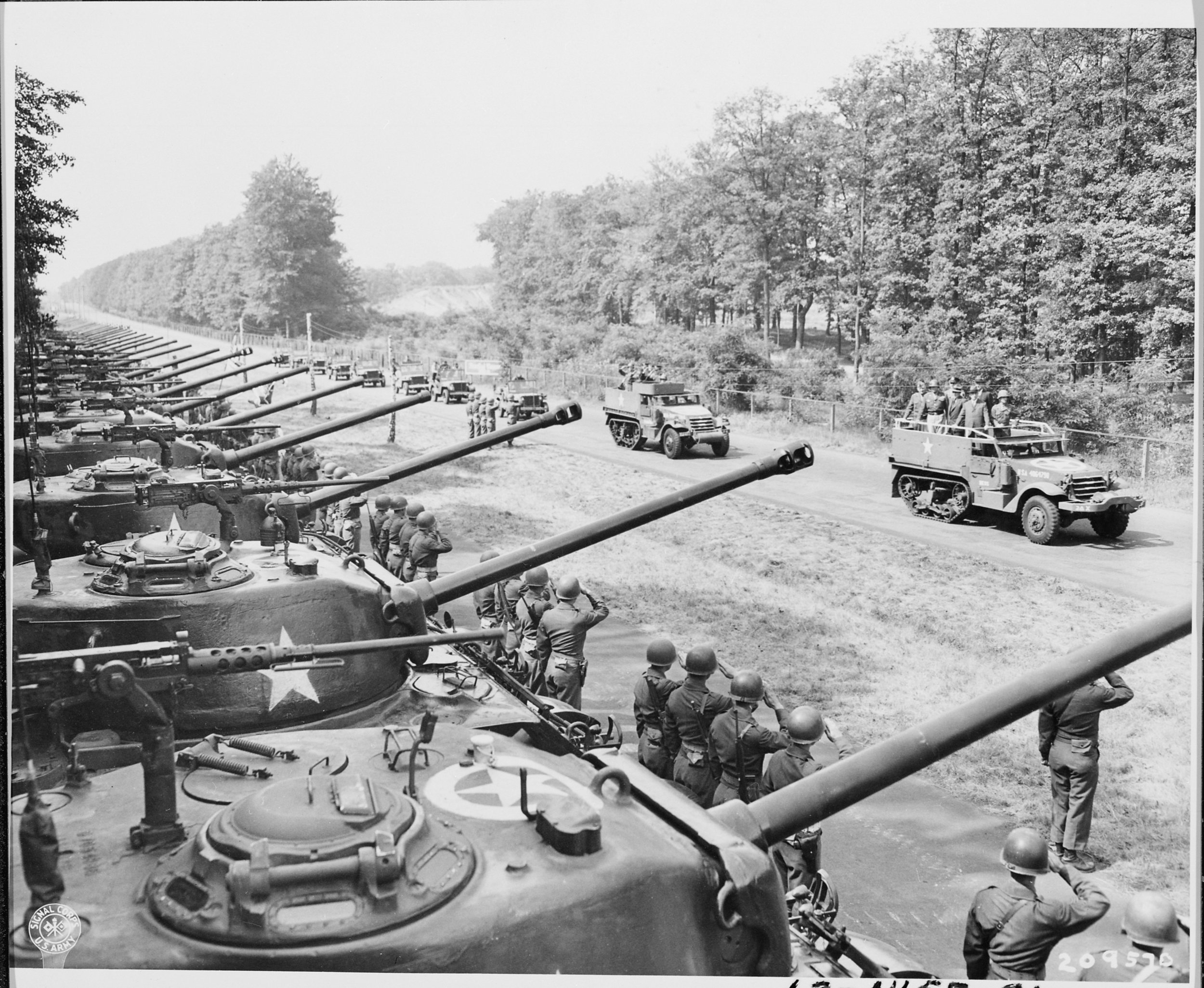 Secretary of War Henry Stimson inspects the 2nd Armored Division in Berlin during the Potsdam Conference.
