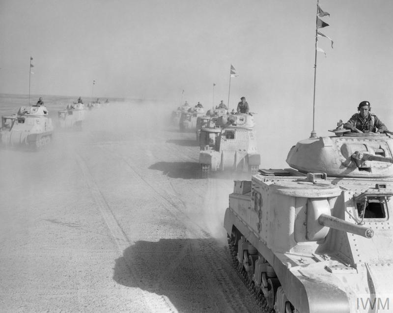 Grant tanks of 5th Royal Tank Regiment on the move in the Western Desert, 17 Feb 1942.   IWM photo E 8467