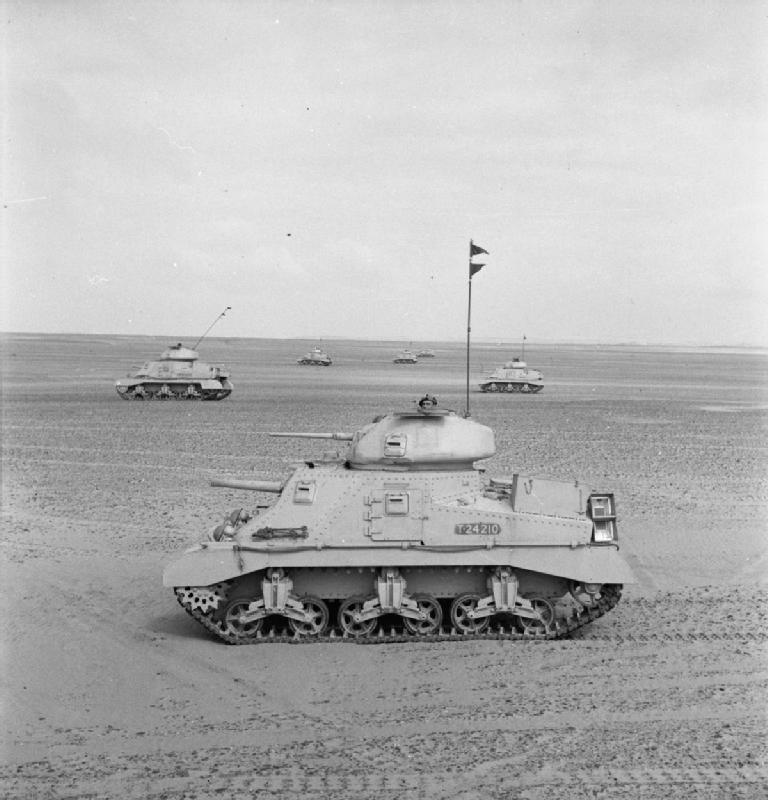 Grant tanks of 3rd Royal Tank Regiment in the Western Desert, 24 Mar 1942. IWM photo E 9613