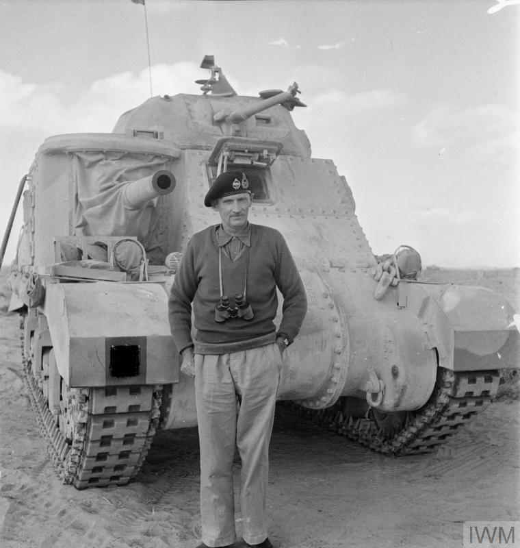 Lt General Bernard Montgomery, GOC 8th Army, in front of his personal Grant tank, 5 Nov 1942. IWM photo E 18982