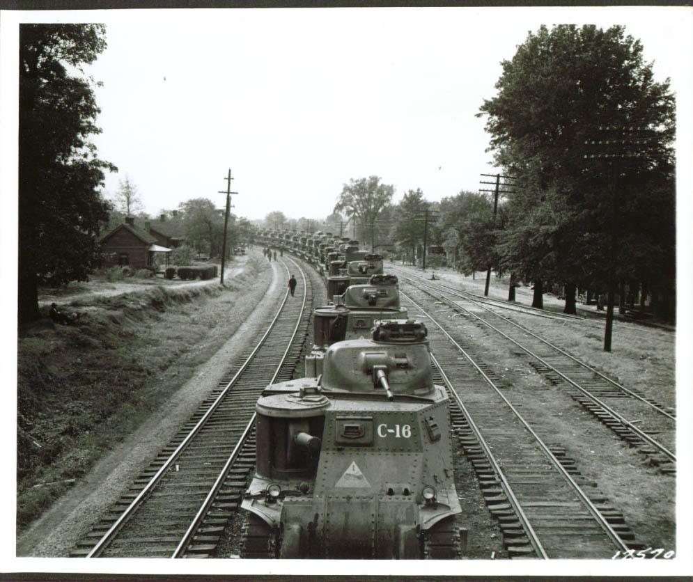 Tanks on flat-cars. Rock Hill, 1941.