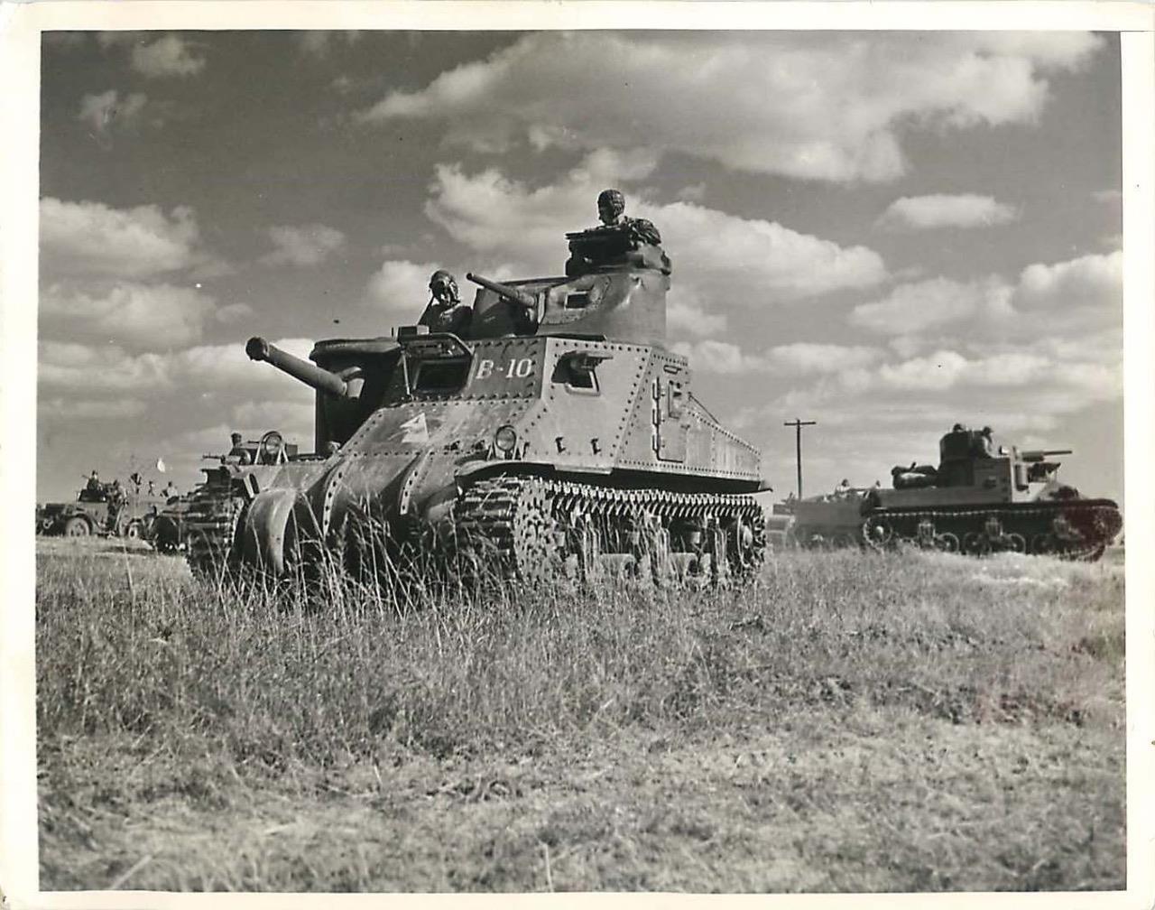 "1st Armored Division M3 Lee ""B-10"" and M2 during 1941 Carolina War Games. 11 Nov 1941."