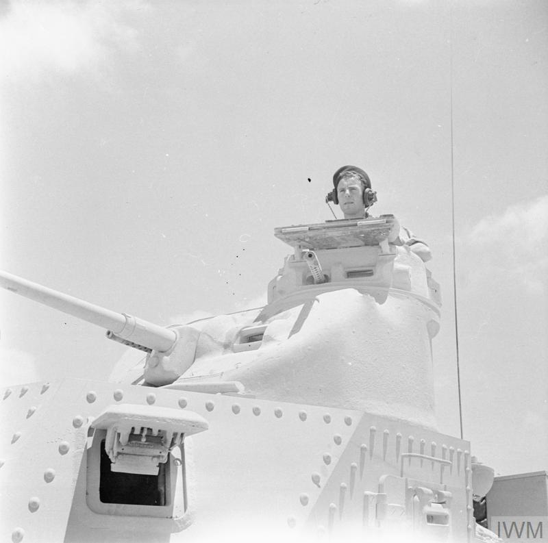 Close-up of the turret of a Lee tank of 'C' Squadron, 4th (Queen's Own) Hussars, 2nd Armoured Brigade, El Alamein position, Egypt, 7 Jul 1942.IWM photo E 14051