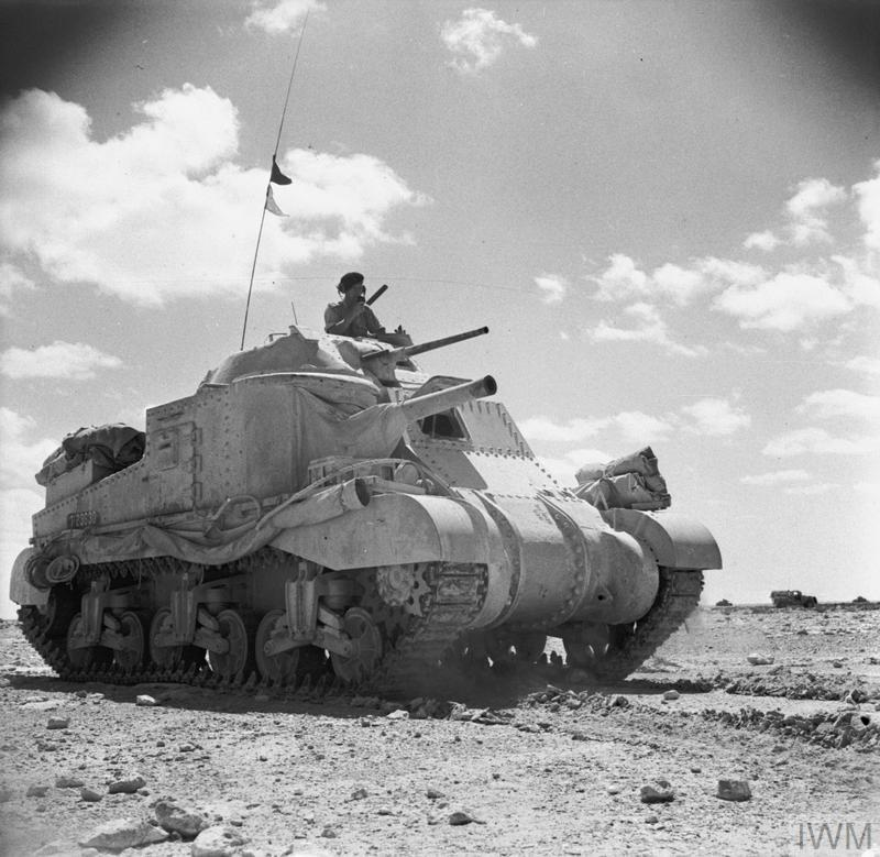 A Grant tank on patrol near Mersa Matruh, 26 Jun 1942. IWM  photo E 13773