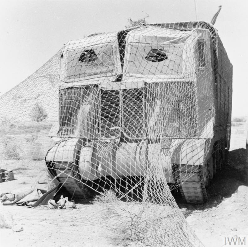 A Grant tank wearing 'Sun Shield' lorry camouflage in the Western Desert, May 1942. IWM photo E 12291