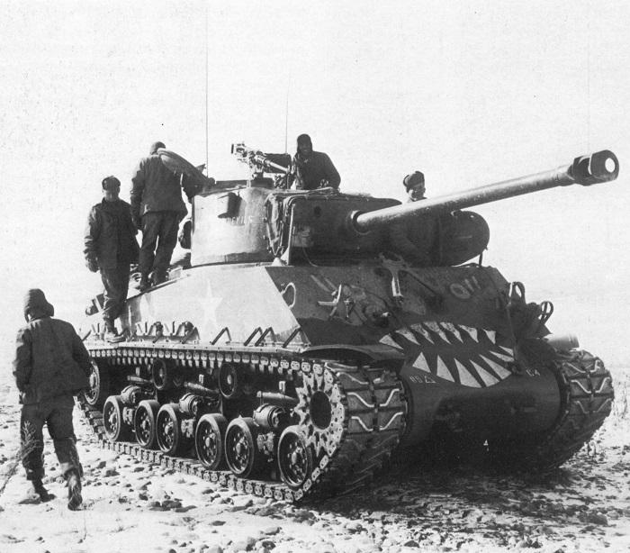 M4A3E8 Sherman, bumper # C4 of C CO, 89th TK BN. Uchonni area of Korea, Mar 1951.