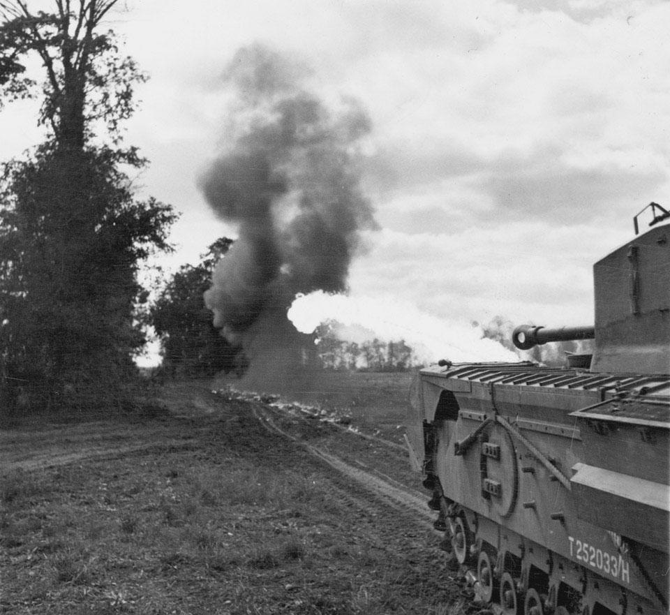 Churchill Crocodile flame-thrower tank, 25 Aug 1944. National Army Museum photo 1985-10-134-1.