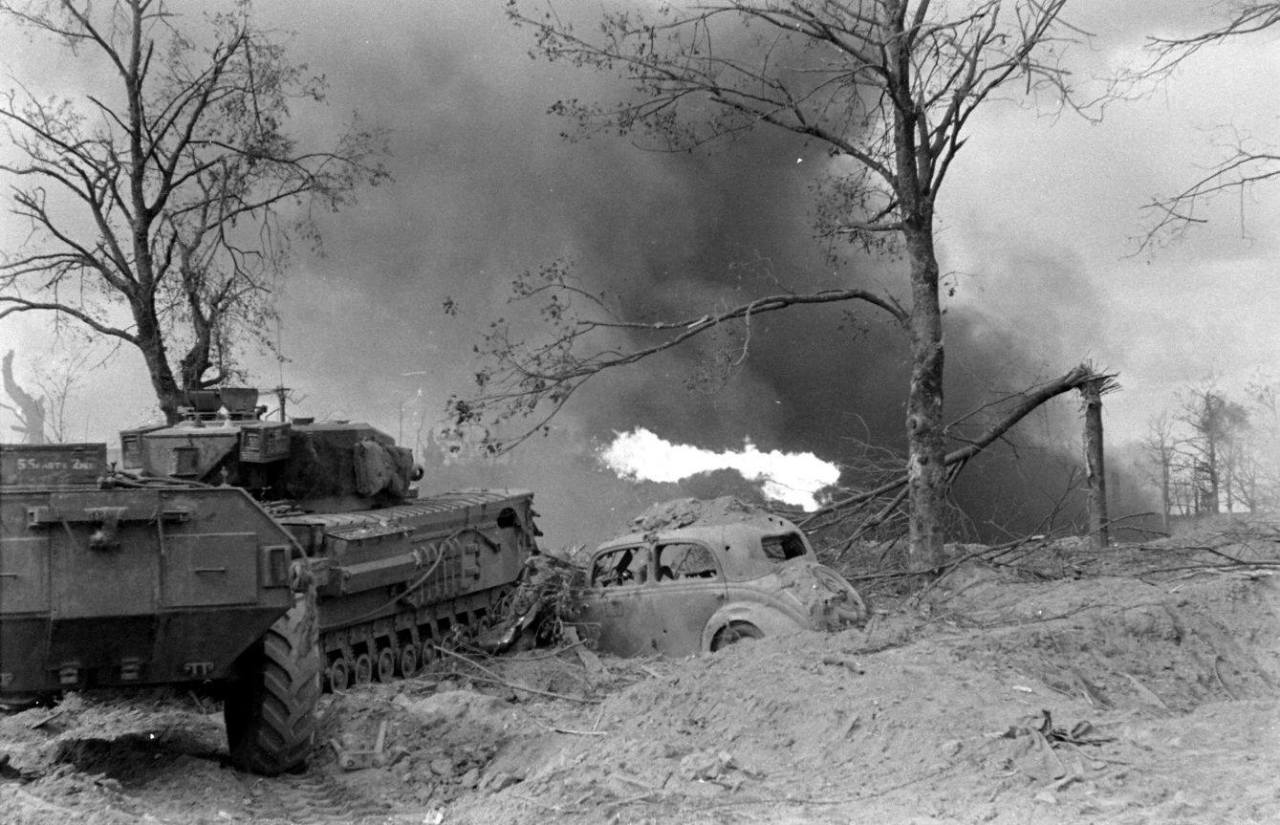Churchill Crocodile in action near Fort Montbarey.Brest, France, Sep 1944. Pic #2.