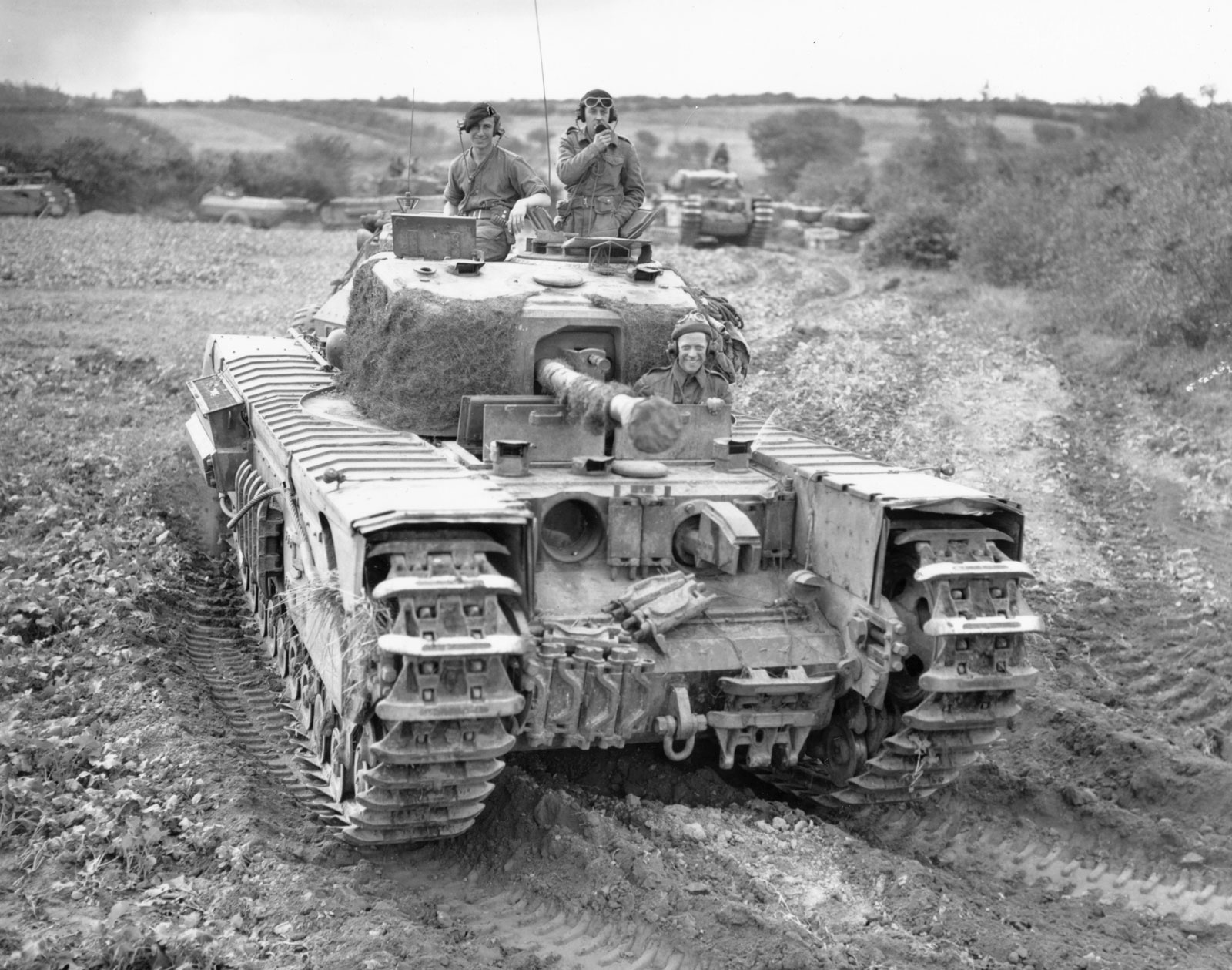 Churchill Crocodile flame thrower tank training some where in England for D Day, early 1944.