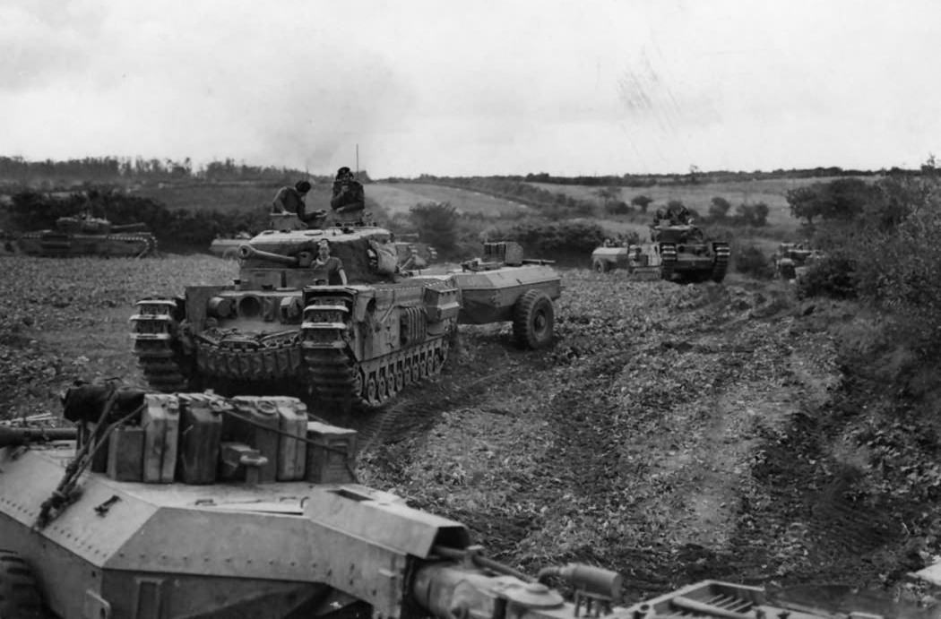 Crocodiles of B Squadron, 141 st Royal Armored Corps, which took part in the American attack on Brest.