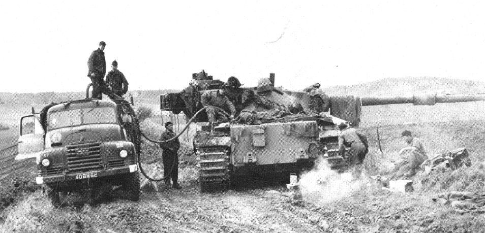 FV214 Conqueror Mk 2 heavy tank refueling during exercises in Germany, 1963.