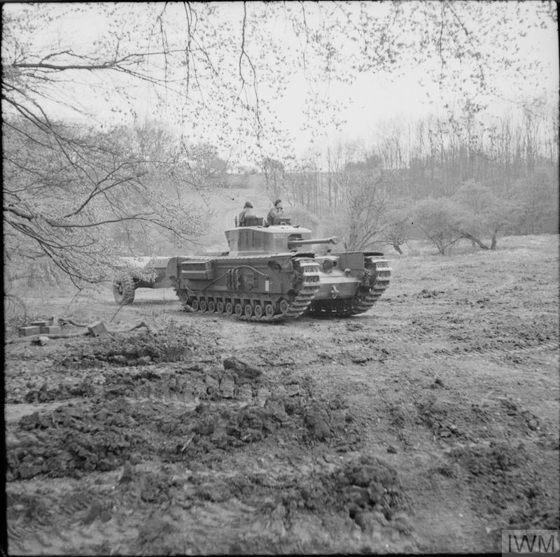 Churchill Crocodile flame-thrower on trials, Eastwell Park, Ashford, Kent, 26 Apr 1944. IWM photo H 37911.