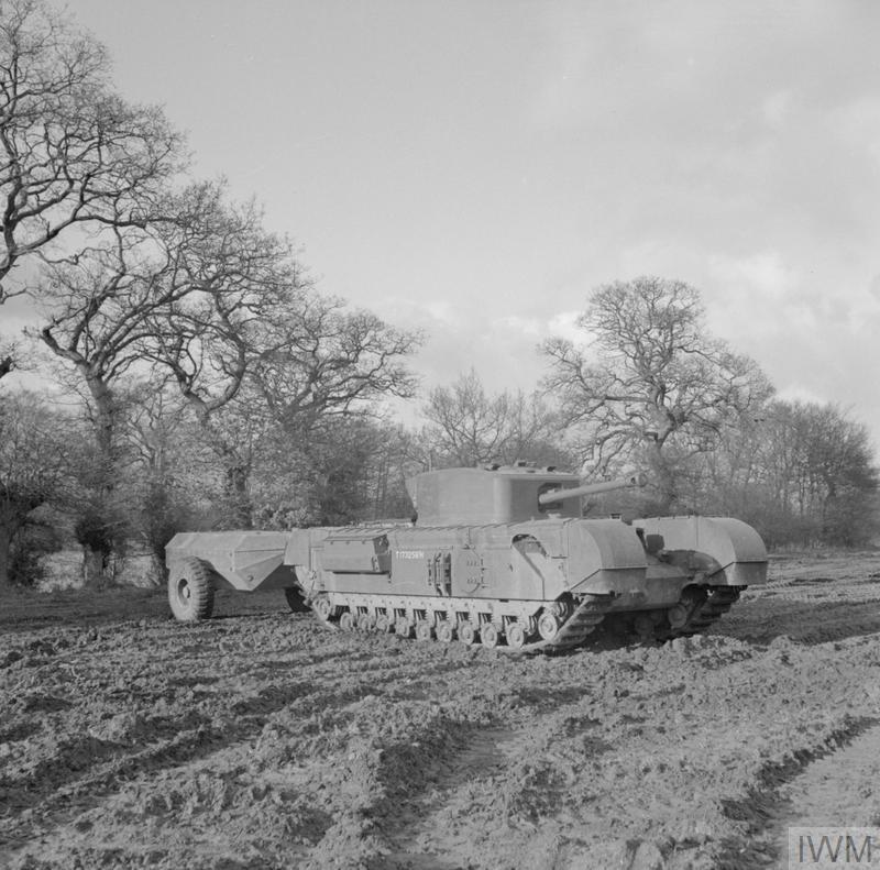 Churchill Crocodile flame-thrower tank, 79th Armoured Division, 13 Feb 1944. IWM photo H 35809.