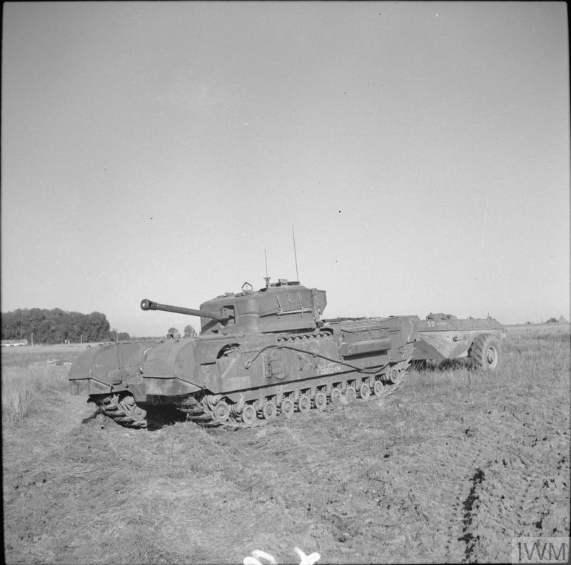 Churchill Crocodile, 25 Aug 1944. IWM photo B 9682.