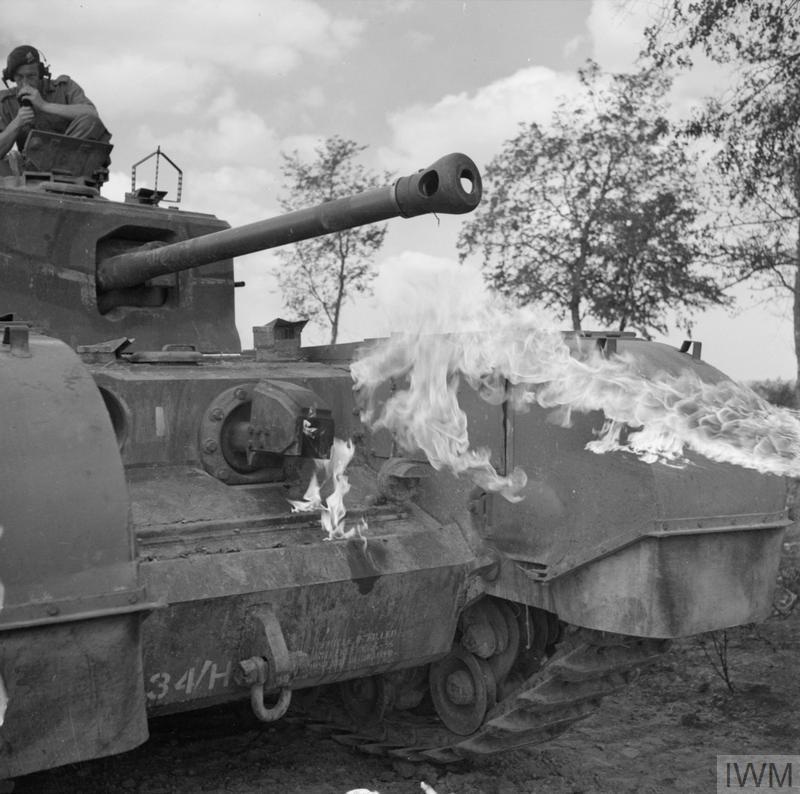 Churchill Crocodile flame-throwing tank during a demonstration, 25 Aug 1944. IWM photo B 9674.