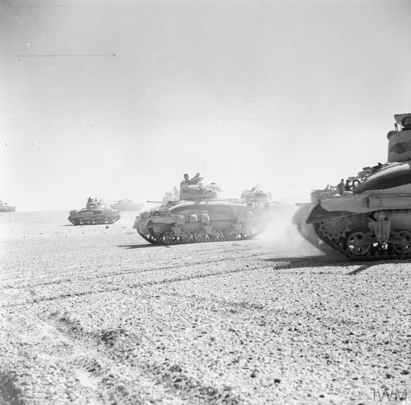 Sherman tanks of 'C' Squadron, 9th Queen's Royal Lancers, 2nd Armoured Brigade, 1st Armoured Division, 5 Nov 1942. IWM photo E 18973.