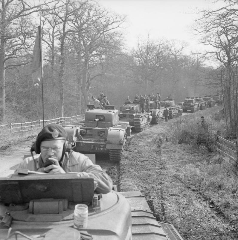 Canadian Churchill tanks during Exercise 'Spartan', 9 Mar 1943. IWM photo H 27922.