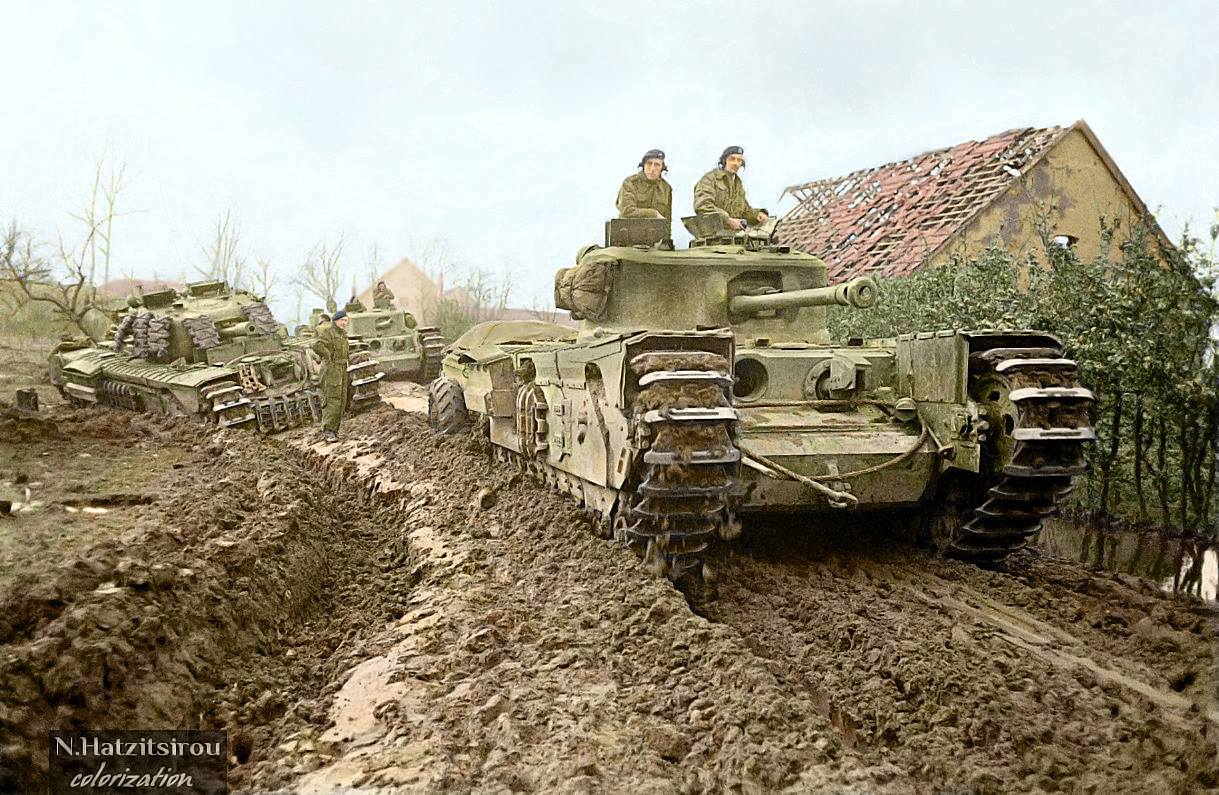 Churchill Mk VII Crocodiles and Mk V CS tanks of the 1st Fife and Forfar Yeomanry. Germany, Nov 1944.