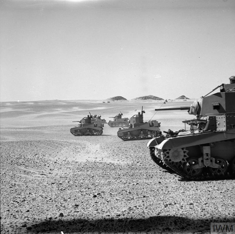 The 8th Hussars testing their new American M3 Stuart tanks in the Western Desert, 28 Aug 1941. IWM photo E 5062.