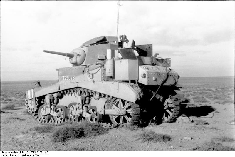 M3 (Stuart I) knocked out during fighting in North Africa, Apr 1941.Bundesarchiv Bild 101I-783-0107-14A.