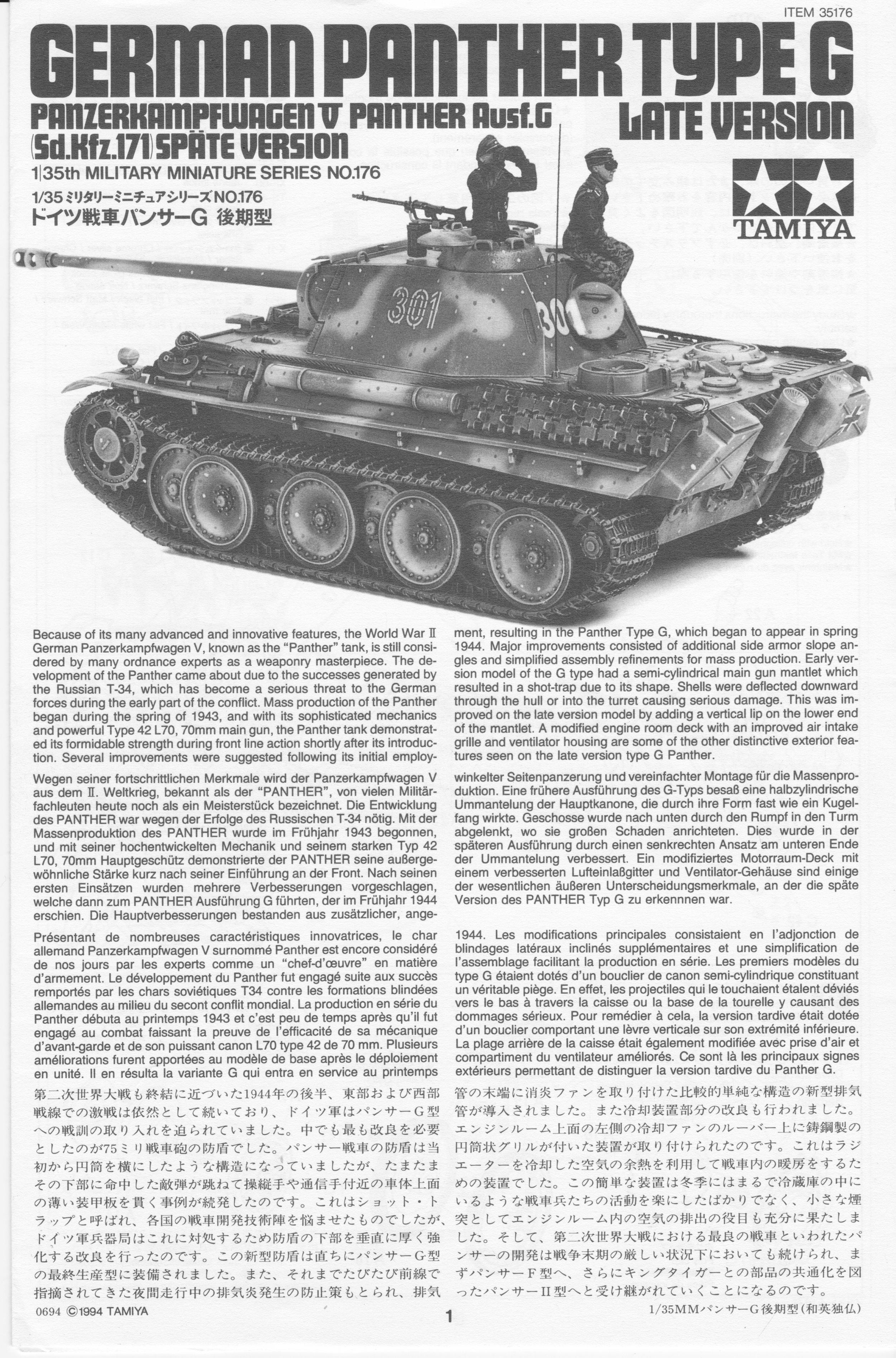 Späte Version G Panther Ausf Tamiya 35176 171-1:35 Sd.Kfz