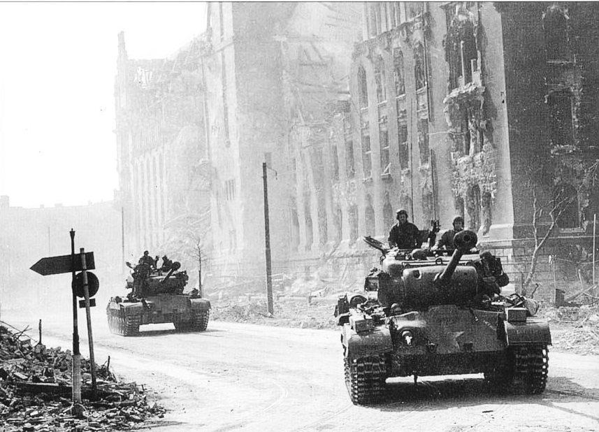 2AD M26 Pershings, Magdeburg, Germany. Apr 1945.