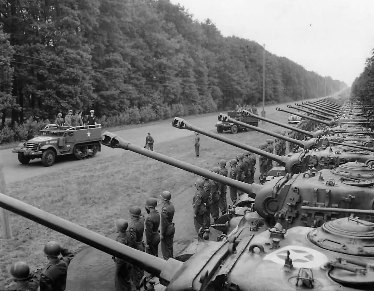 GEN George Marshall inspects troops and tanks of the 2AD near Berlin.