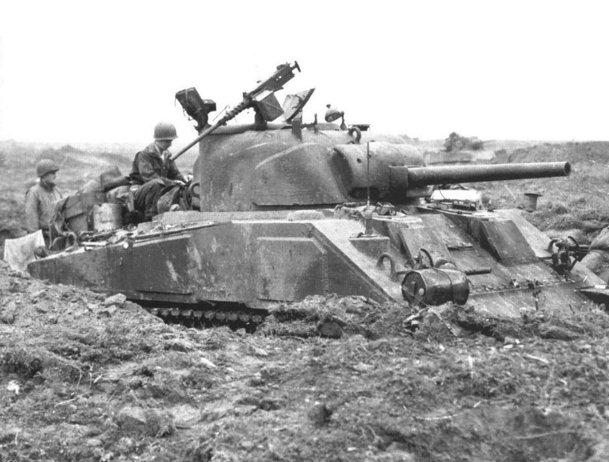 3/67 ARM RGT M4 in defensive position, Ubach, Germany. 10 Oct 1944
