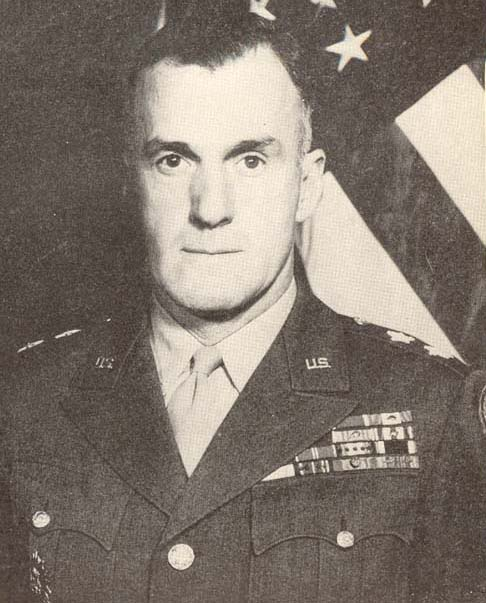 """""""Standing Eddie"""" Major General Edward H. Brooks. 17 March 1944 – 12 September 1944. He played a major role in the development of the M-7 self-propelled artillery piece and the Howitzer Motor Carriage M8, both potent forces in armored tactics."""