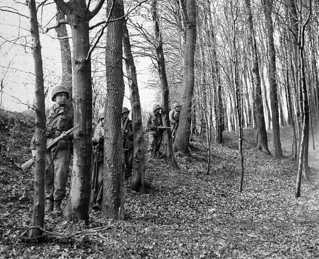 2nd Armored Division infantrymen in the vicinity of Lemgo, Germany, 1945.