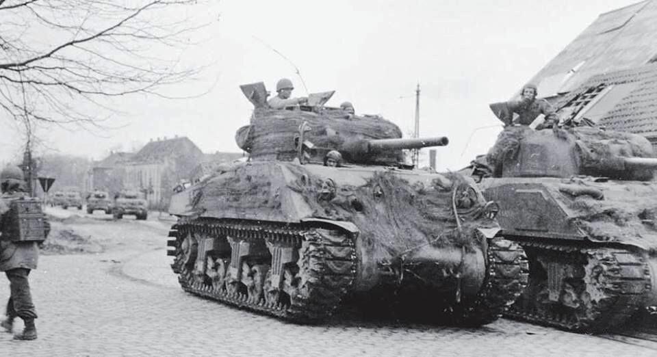 2AD M4 75mm Shermans, Krefeld, Germany. 3 Mar 1945