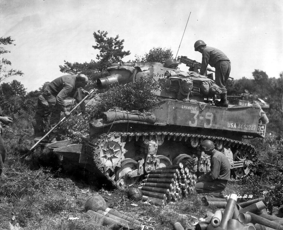 """'""""LAXATIVE"""" a M8 75mm Howitzer Motor Carriage. These vehicles were typically assigned to the headquarters companies of the medium tank battalions."""