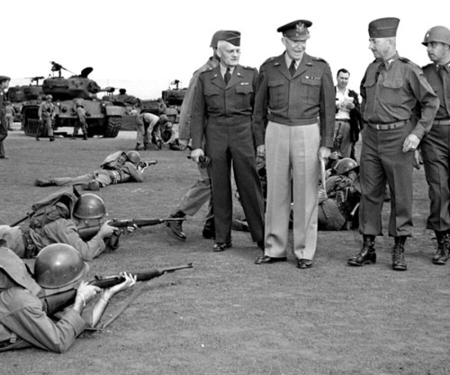 GEN Dwight D. Eisenhower visits the 2AD's Combat Command B at Mainz, Germany. Aug 1951.