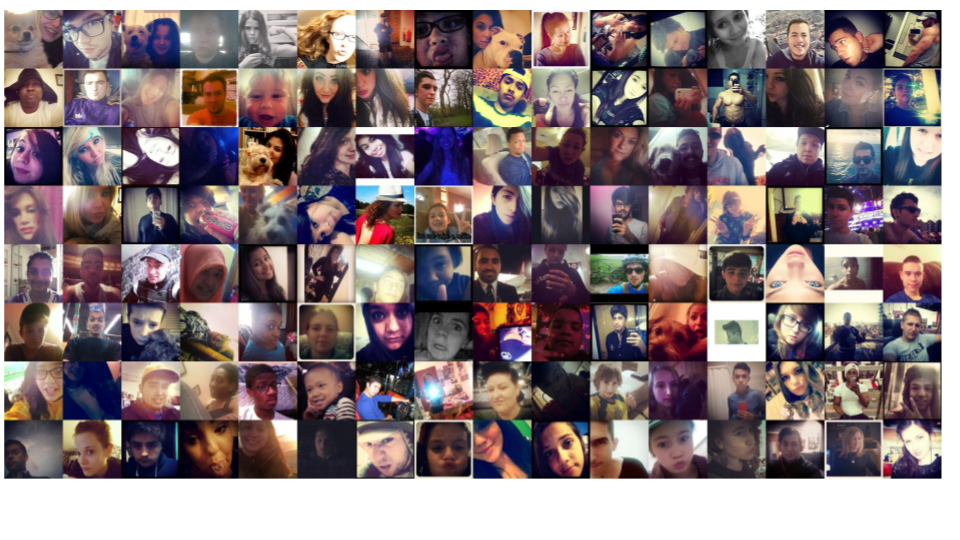 These were the 128 lowest ranked selfies by the model (notice bad lighting and duckface)