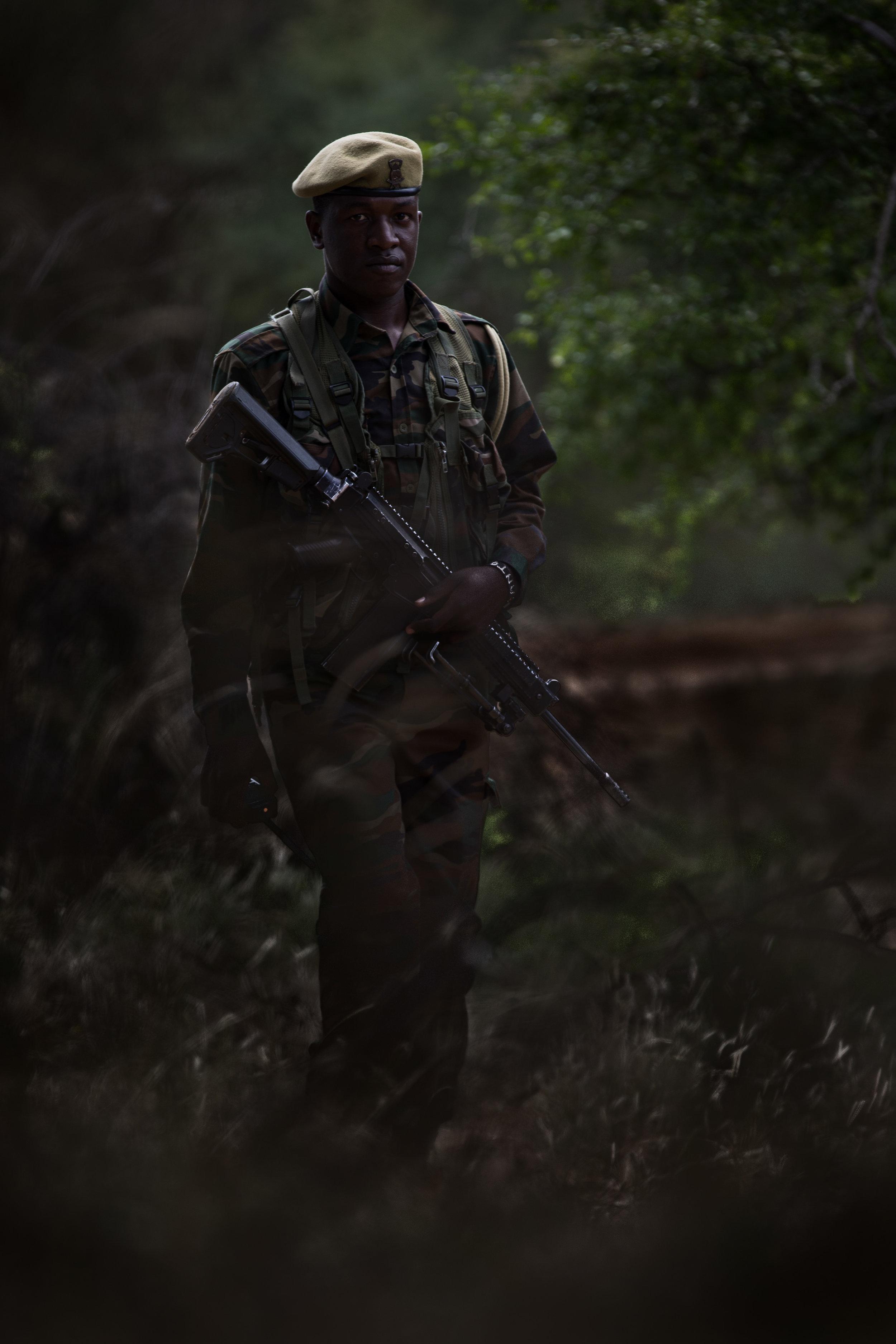 Anti-Poaching Ranger Anthony Ochieng Kenya Wildlife Service Anti-Poaching Ranger, patrolling for poachers in the East Tsavo National Park, Kenya.