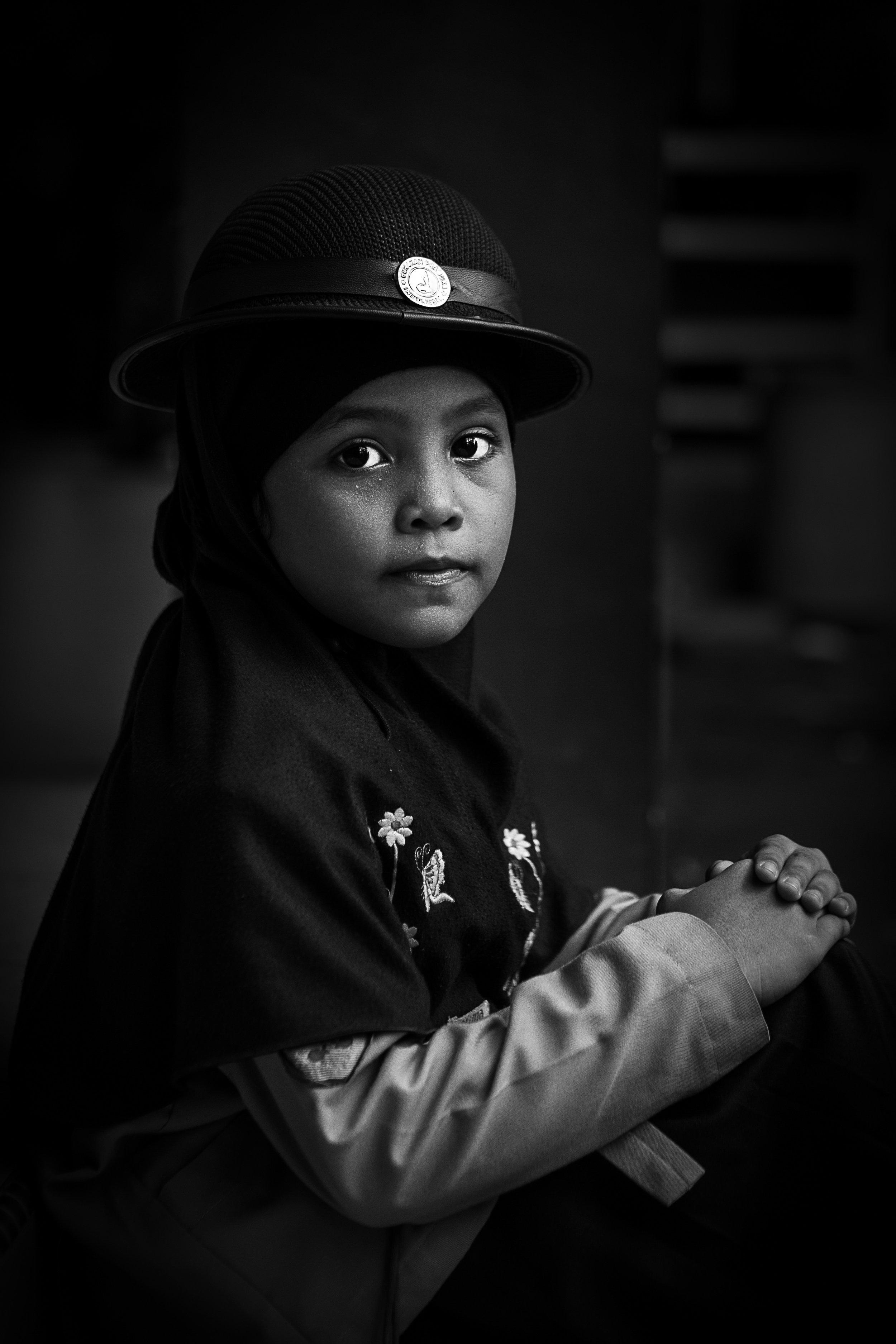 Islamic female student at an Islamic School in Medan, Indonesia.
