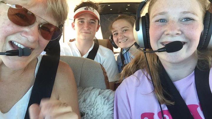Sight seeing flight for cousins in Davis, California