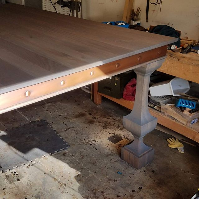 When an 8ft square, bar height table takes up half of the shop.  https://www.customhardwoodtops.com/ #customfurniture #tabletop #diy #homeimprovement #homeandgarden #tabletop #diningtable #table #oak #weathered #soft #wood #wooden #solidwood #coffeetable #customtable #farmhousetable #woodtable #cherrytable #oaktable #traditionaltable #midmoderntable #desk #wooden #walnut #mahogany #austellga #atlanta #finefurniture #mariettaga