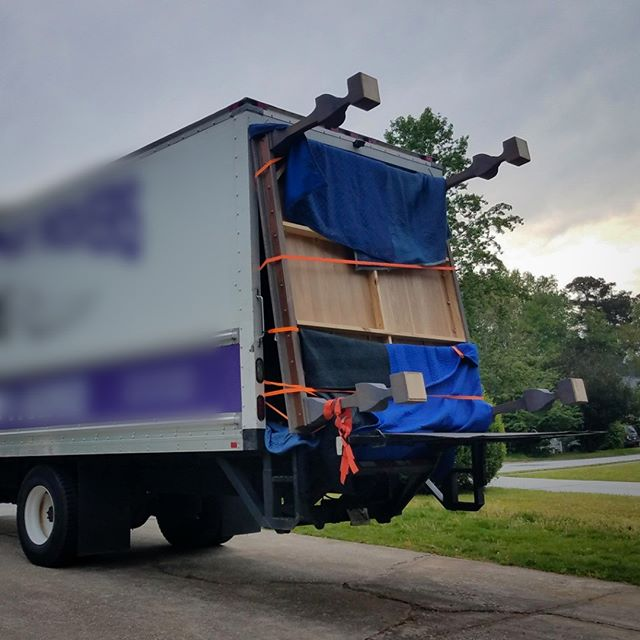 Sometimes you have to get creative... (8 ft square dining table being delivered to client) #finefurniture  #specialdelivery #customfurniture #atlanta #austellga #woodworker #furnituremakers #sawdust