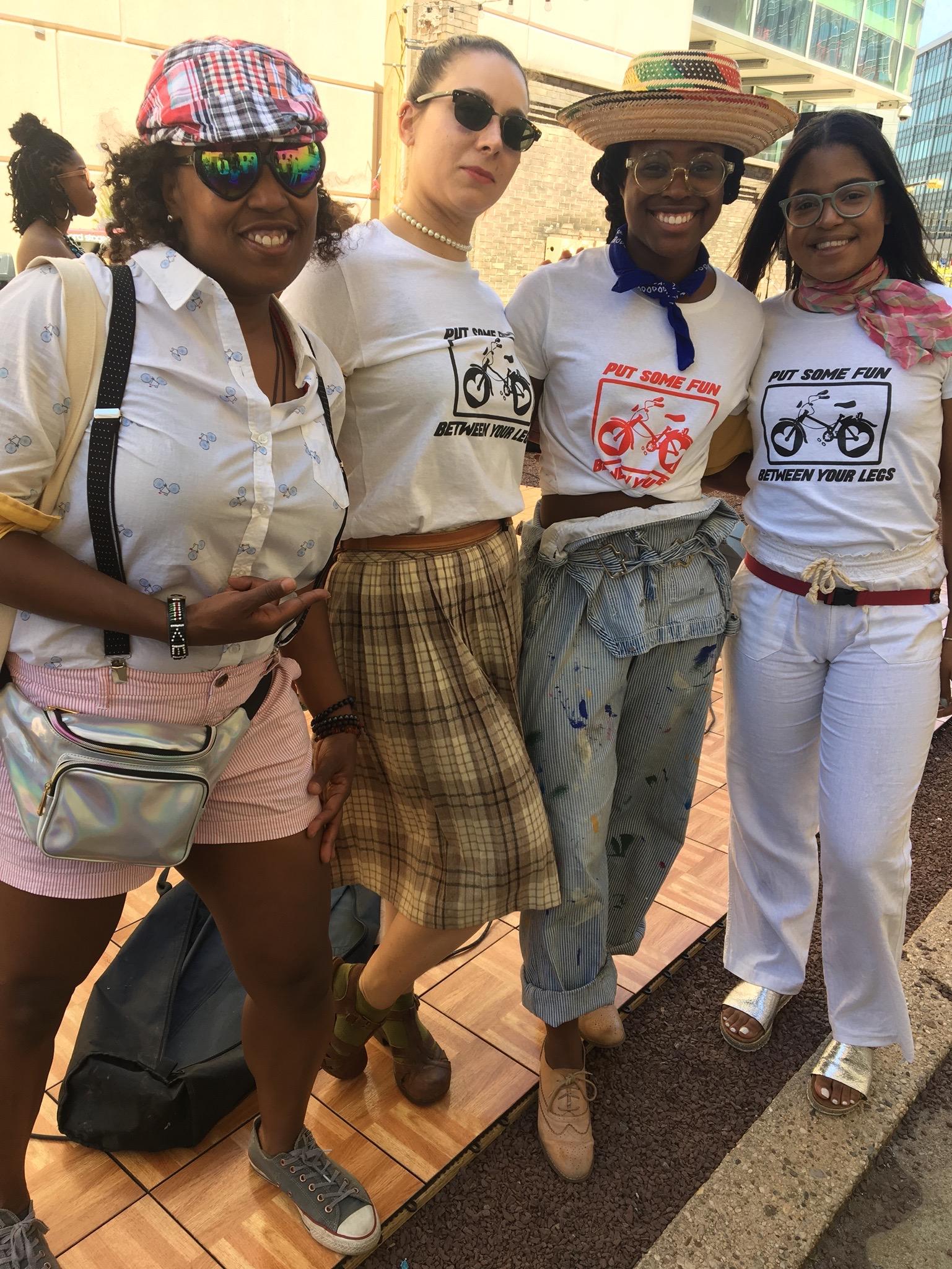 Bike Marshals Stacee Robertson with Girls On Bikes (Samantha Katehis, Kala LaFortune Reed, Nelsy Baro)